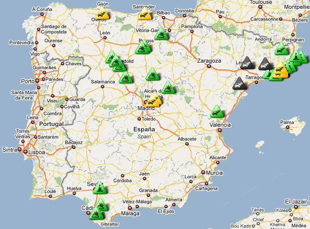 Mapa con Información del Tráfico y Estado de las Carreteras de la ...