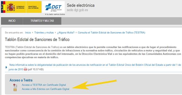 Consulta TESTRA multas sin certificado o con certificado digital